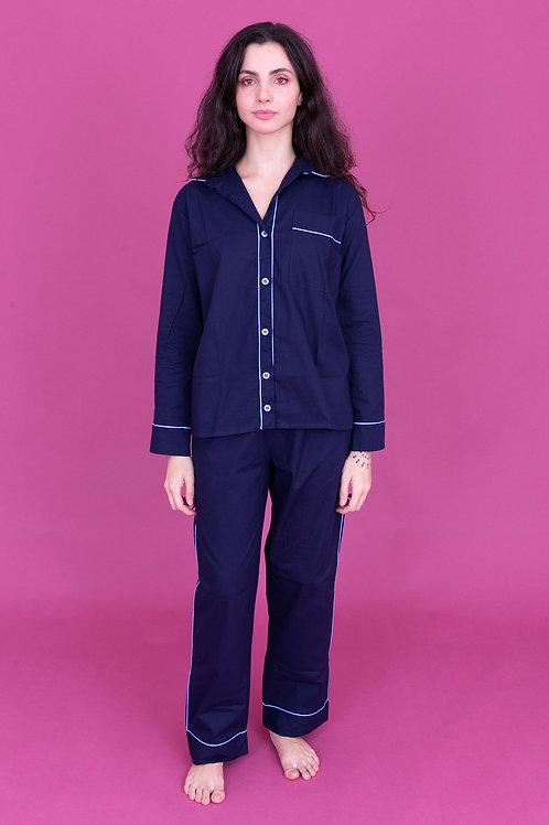 pijama color longo marinho