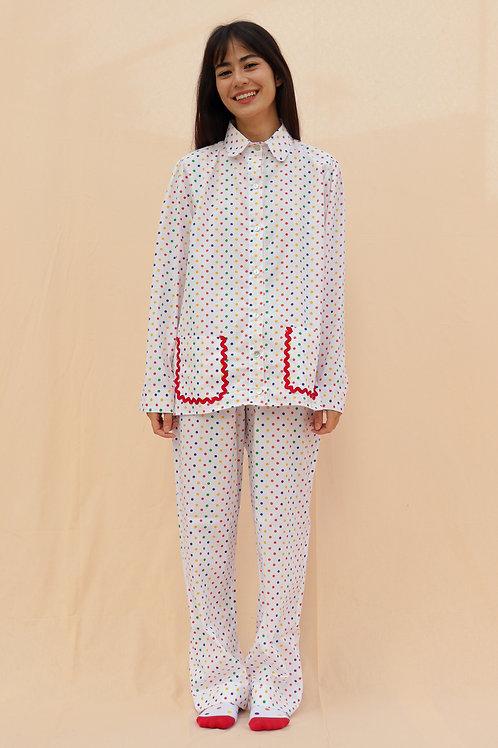 pijama print longo poá colorido