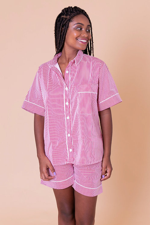 pijama print curto stripes vermelho