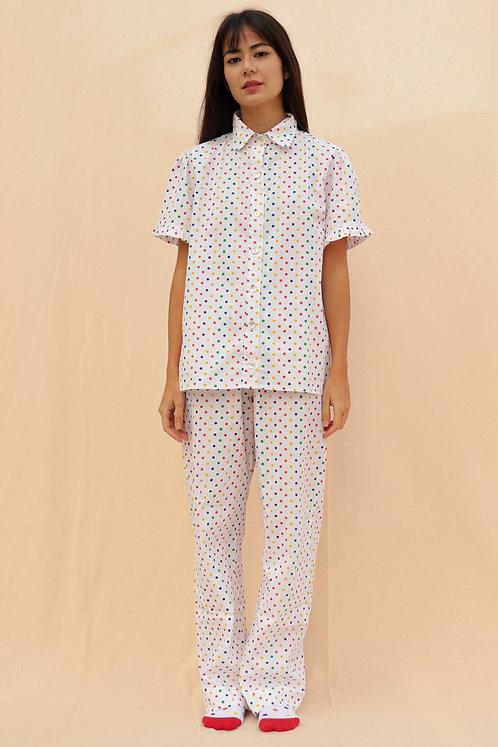 pijama print médio poá colorido