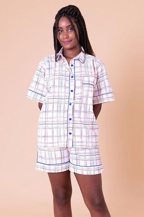 pijama print curto xadrez colorido
