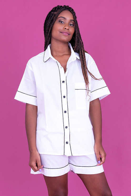 pijama basic curto branco