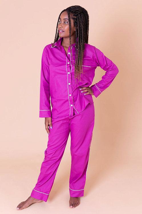 pijama color longo fúcsia