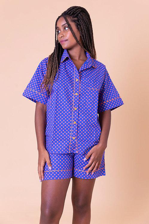 pijama print curto poá laranja