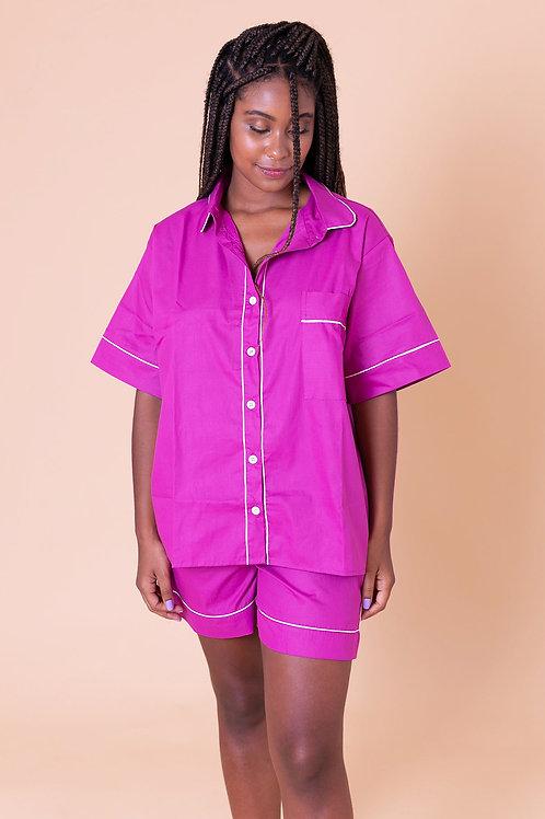 pijama color curto fúcsia