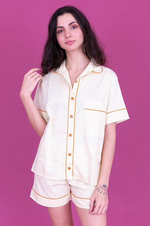 pijama color curto amarelo