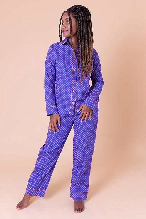 pijama print longo poá laranja
