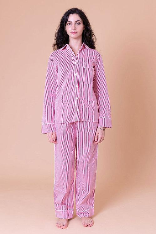 pijama print longo stripes vermelho