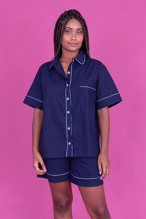 pijama color curto marinho