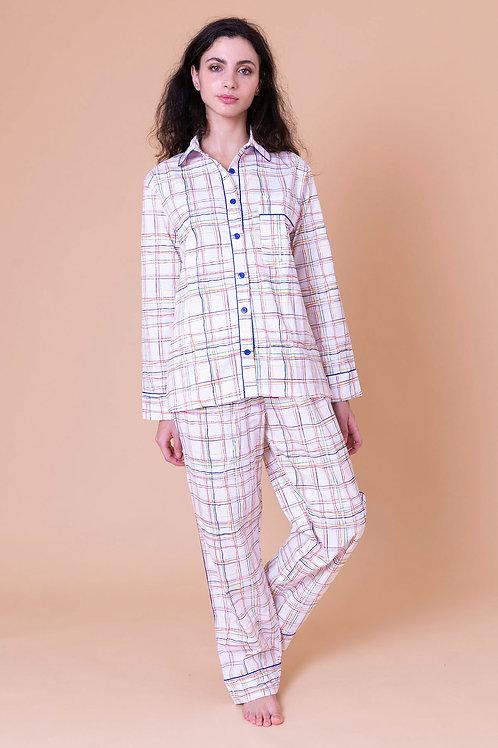 pijama print longo xadrez colorido