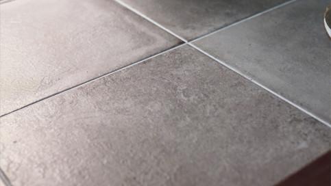 【玄関タイル】450角のイタリア製セメント調タイルを使用しています。デザイン性と高級感を同時に演出できるタイルです。