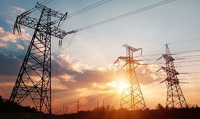 High-voltage power lines. Electricity distribution station. high voltage electric transmis