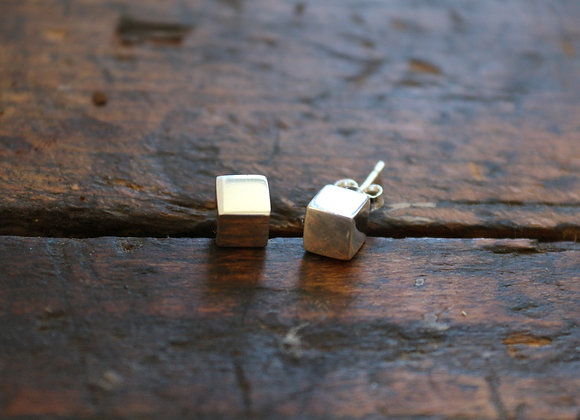 Sterling Silver Square Stud Earring