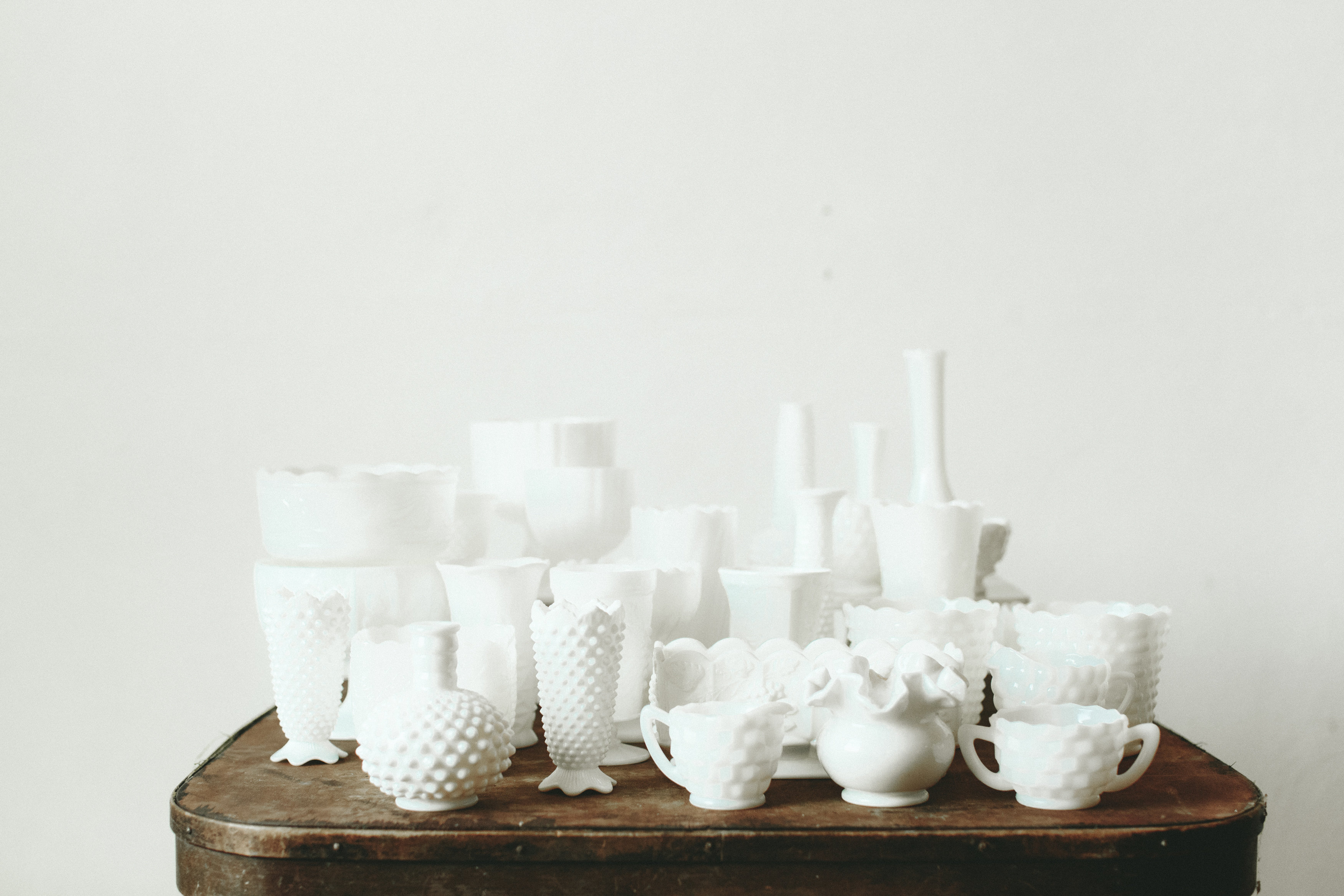MILK GLASS VESSELS