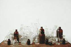 GLASS BOTTLES + CLEAR GLASS VOTIVES