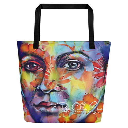 Large Tote Bag w/ Pocket with Quote