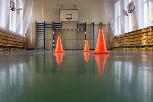 A school gymnasium with dark grey/green resin flooring.
