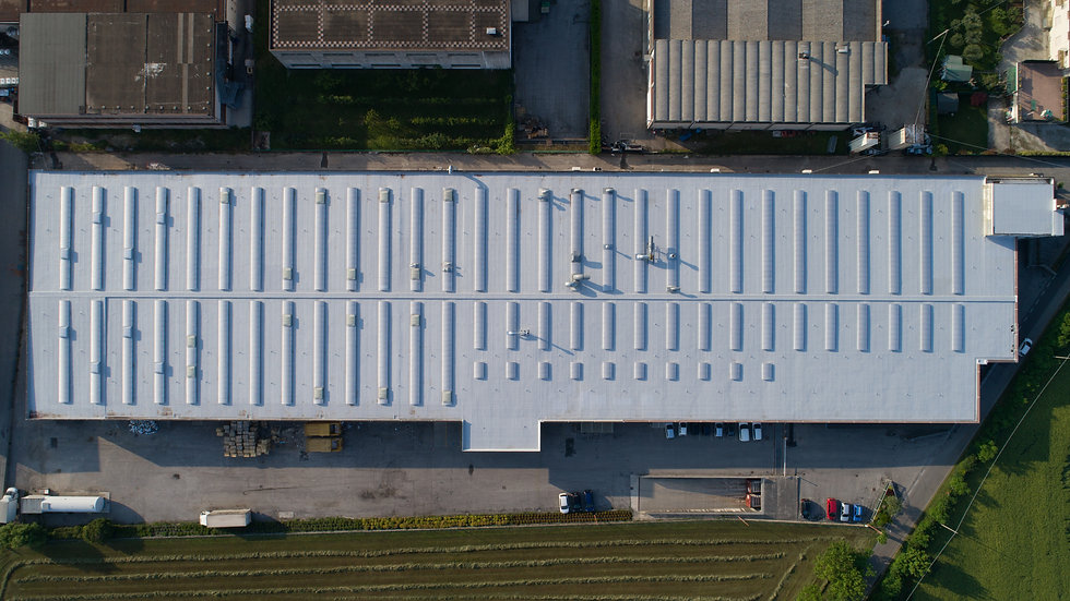 An industrial waterproofing of a roof of a big manifacturing plant