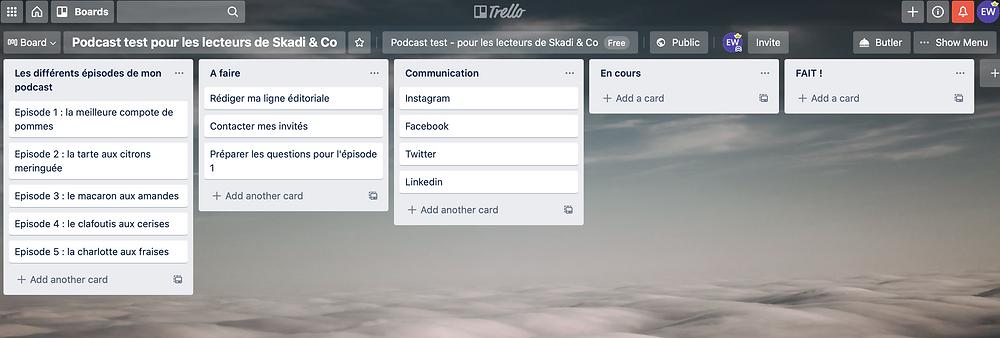 Copie d'écran du logiciel Trello pour apprendre à s'organiser