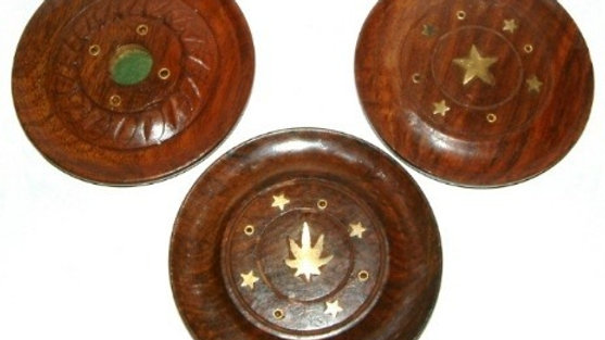 Sheesham Wood Disc Cone & Incense Holder