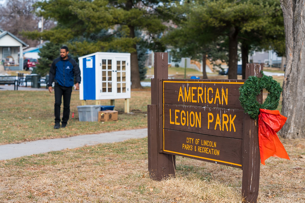 Boys & Girls Club's first Little Free Pantry, located by the American Legion Park sign.