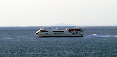 Taken on an extremely clear day in May 2004, the Stena Explorer with the Isle of Man in the background! © John Lewis