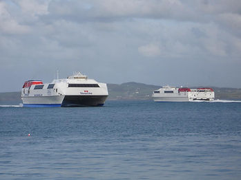 The HSS Discovery (R) is passed by sister Stena Explorer, 1 October 2009. © Ronnie Roberts