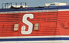 The Stena Voyager laid up at Belfast, with rain covers over her turbine exhausts, spring 2012. © Scott Mackey