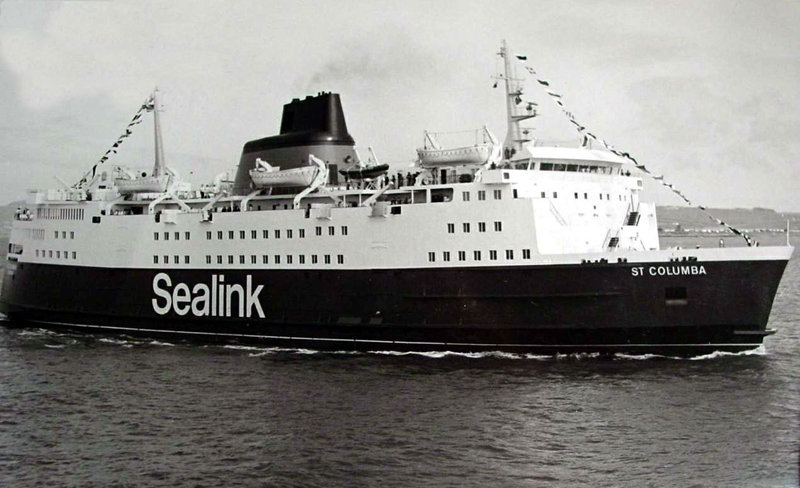 St Columba arrives at Holyhead on completion of her delivery voyage, April 5 1977. Photo: Ian Scott-Taylor Collection.