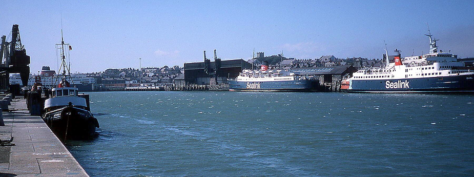 The Earl William undergoes conversion at Holyhead, July 1979. Also present are the new St Columba and the Duke of Lancaster. © Kenny Whyte
