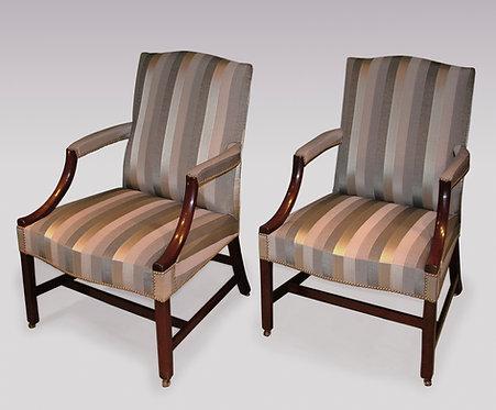 Pair of Mid-18th Century Period Mahogany Gainsborough Armchairs.