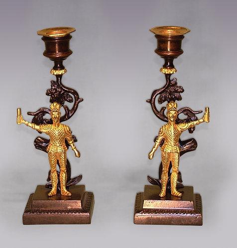 Pair of 19th Century Bronze and Ormolu Knight Candlesticks