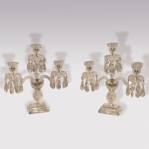 Pair of mid 19th century three light Cut Glass Lustres