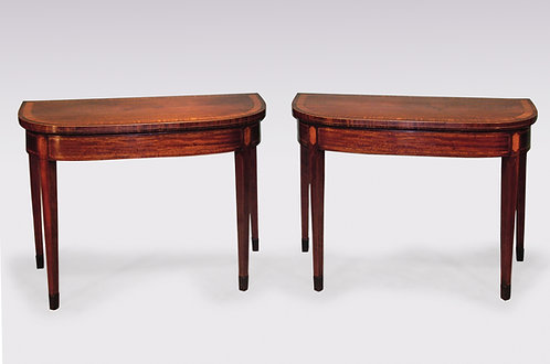 Pair of Sheraton Period Well-Figured Mahogany Card Tables