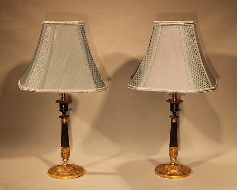 19th Century Bronze and Ormolu Candlestick Lamps