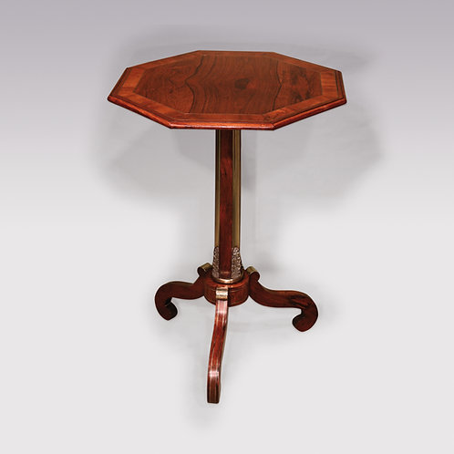 A Regency period rosewood octagonal tripod table