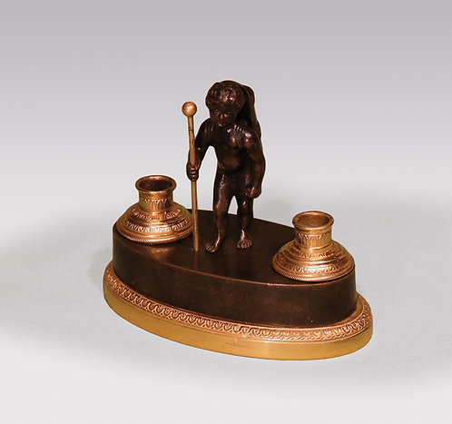 Early 19th Century Bronze and Ormolu Cherub Encrier