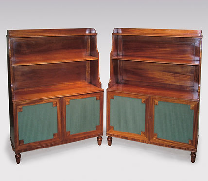 Pair of Regency Period Mahogany Waterfall Bookshelves with Green Silk Panels