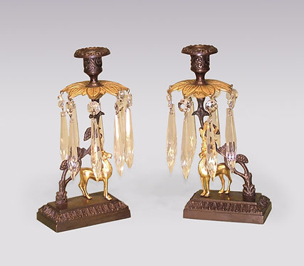 Pair of 19th Century Bronze and Ormolu Stag Lustre Candlesticks