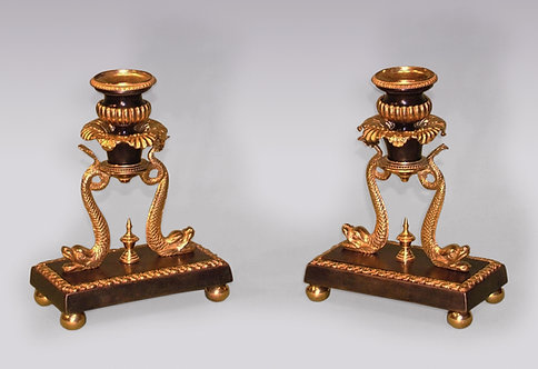 Regency Period Bronze and Ormolu Candlesticks