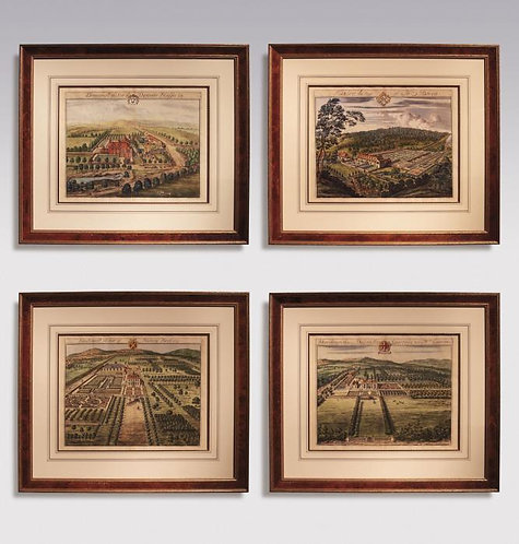A Pair of early18th Century Prints: Country Seats  by Johannes Kip