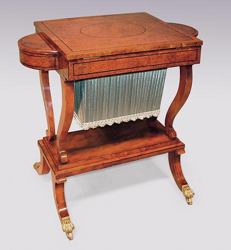 Regency Period Yewwood Work or Games Table