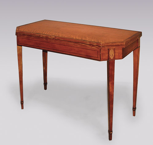 Antique Late 18th Century Sheraton Period Satinwood Card Table