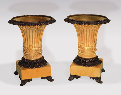 Pair of early 19th Century bronze and ormolu gothic style vase-shaped Tazzas.