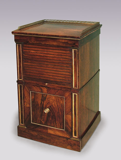 19th Century Rosewood Tambour Bedside Cabinet