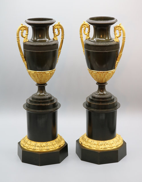 Pair of Early 19th Century Regency Period Bronze and Ormolu Classical Vases