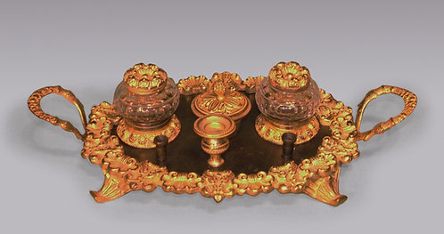 Regency Period Bronze and Ormolu Oval Pen Tray