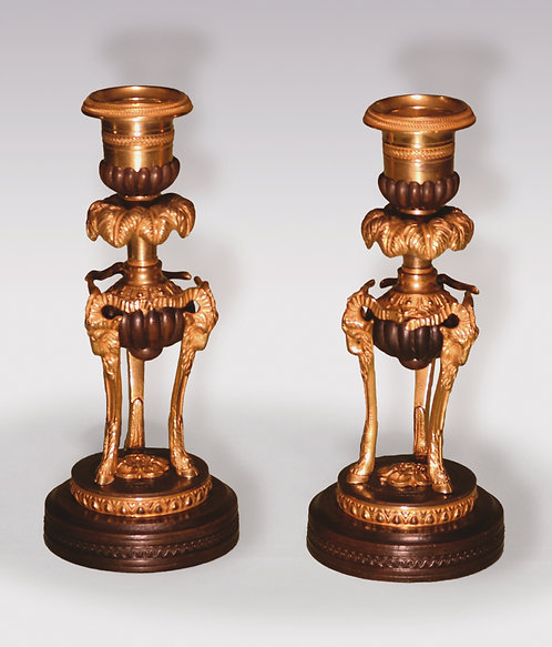 Small Pair of early 19th Century Bronze and Ormolu Candlesticks