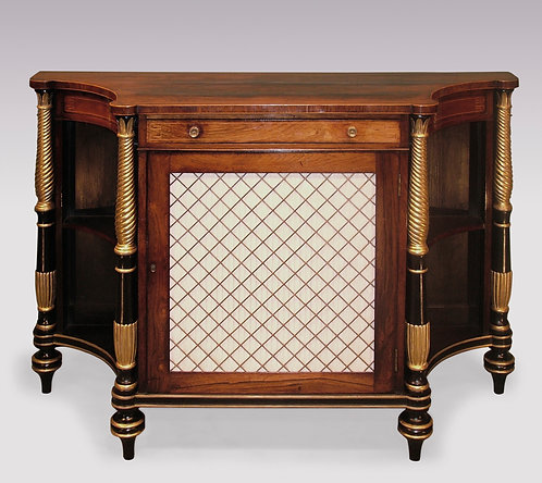 Regency Period Rosewood, concave shaped Chiffonier with spiral gilded columns