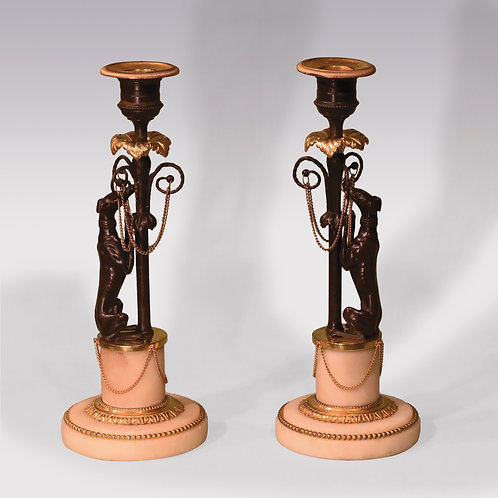 Early 19th Century Bronze and Ormolu Greyhound Candlesticks